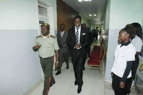 President Edgar Chagwa Lungu (centre) leaves Maina Soko Military Hospital after undergoing medical examination on Wednesday,January 28,2015.PICTURE BY SALIM HENRY/STATE HOUSE