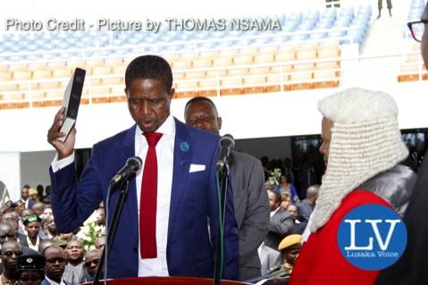 President Edgar Lungu with Acting Chief Justice Lombe Chibesakunda during his Inauguration Ceremony at Heroes Stadium in Lusaka on January 25,2015 -Picture by THOMAS NSAMA - Photo Credit - Picture by THOMAS NSAMA