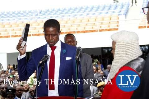President Edgar Lungu with Acting Chief Justice Lombe Chibesakunda during his Inauguration Ceremony at Heroes Stadium on January 25,2015 -Picture by THOMAS NSAMA - lusakavoice.com