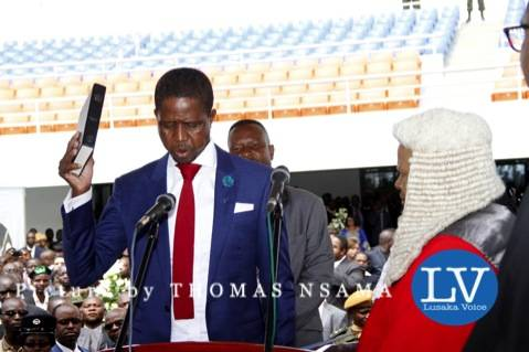 President Edgar Lungu with Acting Chief Justice Lombe Chibesakunda during his Inauguration Ceremony at Heroes Stadium on January 25,2015 -Picture by THOMAS NSAMA photo credit - THOMAS NSAMA. lusakavoice.com