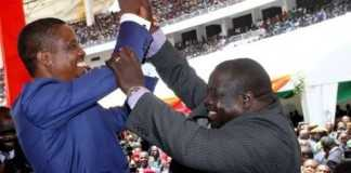 President Edgar Lungu with Sports minister Chishimba Kambwili during his Inauguration Ceremony at Heroes Stadium in Lusaka on January 25,2015 -Picture by THOMAS NSAMA