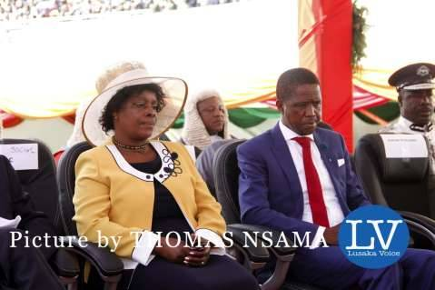 President Edgar Lungu with the First Lady Esther Lungu Chibesakunda during his Inauguration Ceremony at Heroes Stadium on January 24,2015 -Picture by THOMAS NSAMA - lusakavoice.com