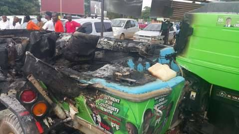 UPND attacks PF Centre at Cross Road Shopping Mall burn the display boat