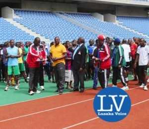 FAZ Referee Committee Chairman Jeff Chipilingo  (in yellow golf T shirt) addressing refereess prior to the tests!      - Photo Credit Jean Mandela - Lusakavoice.com