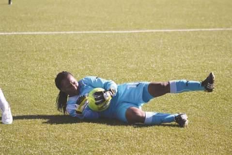 Namibian goalkeeper Agnes Kauzuu