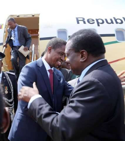 President Edgar Chagwa Lungu being welcomed by Zimbabwean Vice President Emmerson Mnangagwa at Meikles Hotel in Harare,Zimbabwe on Friday,February 6,2015. PICTURE BY EDDIE MWANALEZA:STATE HOUSE