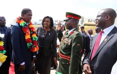 President Edgar Chagwa Lungu on arrival at Harare International Airport in Zimbabwe on February 6,2015 -Picture by EDDIE MWANALEZA :STATE HOUSE