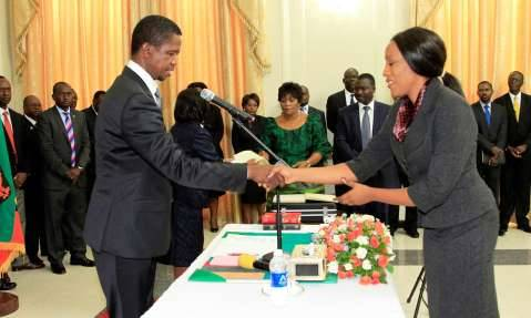 President Edgar Lungu During the Swearing in ceremony of Ms Mwaba Doreen Mwaba Chief Policy Analystat Statehouse on Thursday 19th February 2015, Picture By EDDIE MWANALEZA:STATEHOUSE.