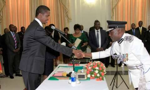 President Edgar Lungu during the Swearing in Ceremony of Mr Stanslous Agrippa Mukuka Chewe as Commissioner of Police Northern Province at State House on Thursday 19-02-2015 PICTURE BY EDDIE MWANALEZA:STATEHOUSE.