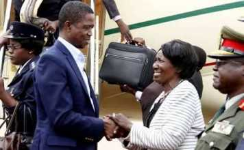 President Lungu being welcomed by Vice-President Inonge Wina on arrival at Kenneth Kaunda International Airport from Addis Ababa, Ethiopia on February 1,2015 -Picture by THOMAS NSAMA