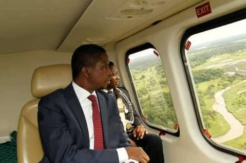 President Lungu on his way to Mfuwe Airport on February 6,2015 -Picture by SALIM HENRY