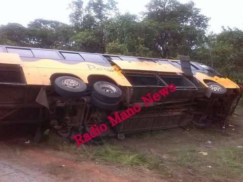 The Lusaka-Mpulungu bound Power Tools Bus, a Scania Irizar bus bearing registration number ACK 143 that hit into a pothole and overturned along the Mpika-Kasama road today (27th February, 2015) killing three on the spot.