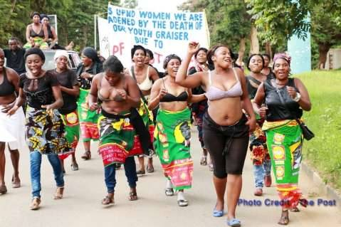 UPND women Feb 27th 2015 marched half-naked on the streets of Lusaka to demonstrate against the killing of their party member, Grayzer Matapa - Photo Credit : The Post