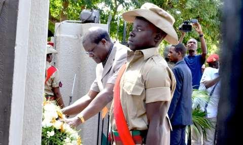 Acting President Dr Ngosa Simbyakula laying a wreath during the Youth Day Commemoration at the Freedom Statue in Lusaka on March 12,205 -Picture by THOMAS NSAMA