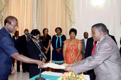 Acting President Ngosa Simbyakula swears in Permanent Secretaries at State House on March 13,2015 -PICTURES BY THOMAS NSAMA AND EDDIE MWANALEZA