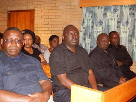 L-R- PF member of the Central Committee, Mr. Samuel Mukupa, PF Secretary General, Mr. Davies Chama; Mr. Willie Nsanda (Senior), and Mr. Andrew Kachibe, cousin to the late Mr. Nsanda at the church service. - Credit Nicky Shabolyo