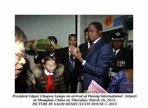President Edgar Chagwa Lungu on arrival at Putong International Airport in Shanghai ,China on Thursday,March 26,2015. PICTURE BY SALIM HENRY:STATE HOUSE