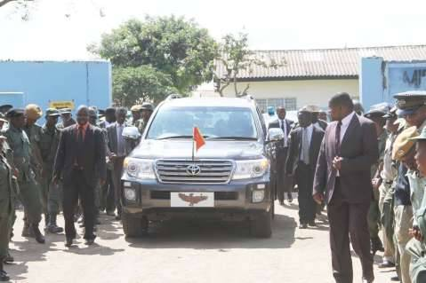 President Edgar Lungu motorcade leaving Chawama Basic School where he witnessed the filling in of the nominations of Chawama Constituency PF parliamentary candidate Lawrence Sichalwe on March 10,2015 -Picture by THOMAS NSAMA