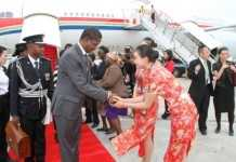 President Edgar Lungu upon arrival at Sanya Phoenix International Airport in Hainan Province of China where he is expected to address the Boao Forum. This was on March 27,2015 -Picture by THOMAS NSAMA