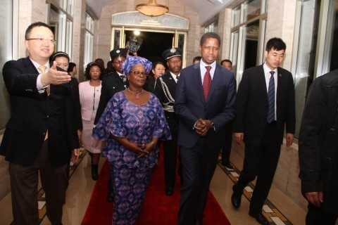 President Edgar Lungu with First Lady Esther Lungu arrives at Hong Qiao State Guest House in Shanghai, China on March 26,2015. The President is in China on a State Visit