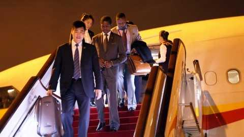 President Edgar Chagwa Lungu has arrived in Shenzhen, China aboard Hainan airlines on continued State Visit on March 31, 2015. The plane carrying the President touched down at Shenzhen Airport at 20:53 hours ( China Time) -Pictures by THOMAS NSAMA AND EDDIE MWANALEZA