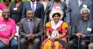 Samuel Musyoki, Deputy Minister of Chiefs and Traditional Affairs Hon John Akufuna, Chieftainess Nkomesha Mukamambo II and  aramount Chief Kyungu XXIV Mwakabanga III of Malawi during the official opening.
