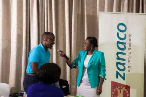 The emcee, Kunda Mando, interviewing the maverick entrepreneur Mawano Kambeu of doctcom Zambia. Mawano is also a Nyamuka Zambia Champion — at Radisson Blu Hotel Lusaka.