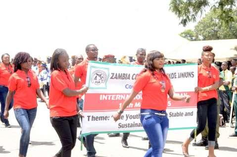 ZCTU  at Youth Day Celebrations at the Freedom Statue in Lusaka on March 12,2015