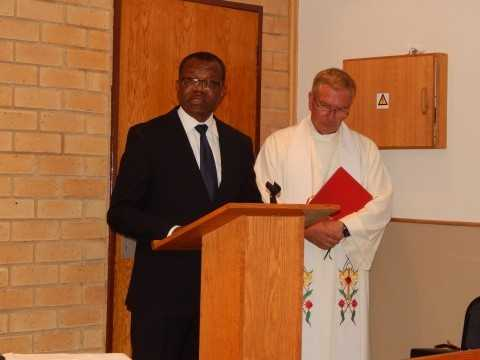 Zambia's High Commissioner to South Africa, His Excellency Mr. Muyeba Chikonde, speaks at the church service - Credit Nicky Shabolyo