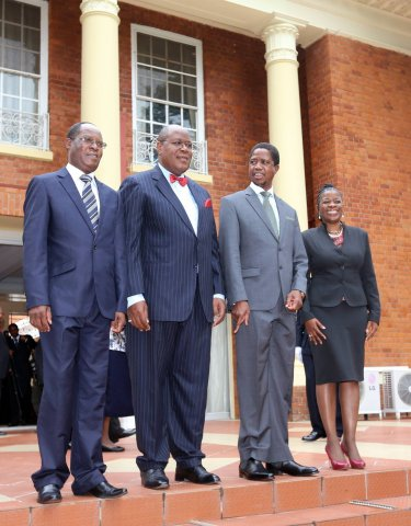 Brenda Muntemba Zambian high Commissioner to Kenya, Sibanze Simuchoba PS Southern Province and Mr Bernard Pwete PS Chiefs and Traditional affairs Pose with President Edgar Lungu after the Swearing in Ceremony at Statehouse. Picture By Eddie Mwanaleza/statehouse 22-04-2015.