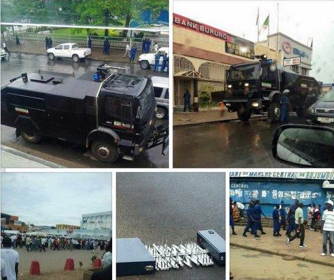 Burundi- Anti-Nkurunziza protests begin. Downtown Buja paralyzed. Activists:leader arrestd www.iwacu-burundi.org - Credit - Thierry Uwamahoro @ThierryU