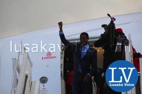 Edgar lungu's Arrival from China, Emirates  - Photo Credit Jean Mandela - Lusakavoice.com