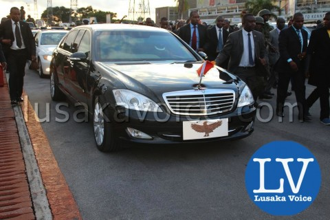 Edgar lungu's Arrival from China - motorcade - Photo Credit Jean Mandela - Lusakavoice.com