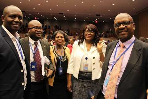 Zambia's Permanent Representative to the UN, H.E. Dr Mwaba Kasese-Bota (second right) and the Zambian delegation after her election as Chairperson of the 49th Session of the Commission on Population and Development (CPD49) at UN HQ on 17 April 2015. PHOTOS | CHIBAULA D. SILWAMBA | ZAMBIA UN MISSION