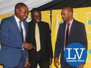 Kalusha Bwalya , Acting MTN CEO Clement Asante and Minister Vincent Mwale cracking a joke during the awards  - Photo Credit Jean Mandela - Lusakavoice.com