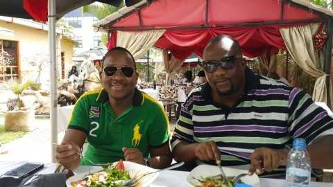 Mainga Mwaanga December 20, 2014 .  Situation right now wit my homeboy Ellington the bawse,doing late lunch