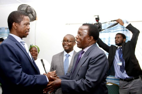 FLASH BACK: President Edgar Chagwa Lungu being welcomed by ECZ Commissioner Judge Chulu at Chawama Basic school on March 10,2015, where he witnessed the filling in of nomination papers of Chawama Constituency PF Parliamentary Candidate Lawrence Sichalwe for Chawama Constituency by Elections Slated for April 14 -Picture by THOMAS NSAMA / State House