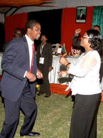 President Edgar Chagwa Lungu and First Lady Esther Lungu take to the dance floor at Zambia's Ambassador to Zimbabwe's residence in Harare where he addressed Zambia's living in Zimbabwe on April 29,2015 -Picture by THOMAS NSAMA