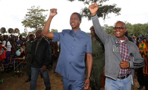 President Edgar Chagwa Lungu in Senga Hill constituency where he is drumming up support for PF Parliamentary candidate Kapembwa Simbao (r) in Mbala District on April 10,2015 -Picture by EDDIE MWANALEZA/ STATE HOUSE