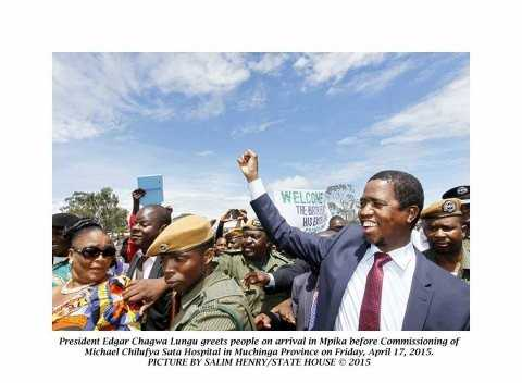 President Edgar Chagwa Lungu upon arrival in Mpika for the Commissioning of Michael Chilufya Sata Hospital in Muchinga Province on Friday, April 17, 2015. PICTURE BY SALIM HENRY:STATE HOUSE