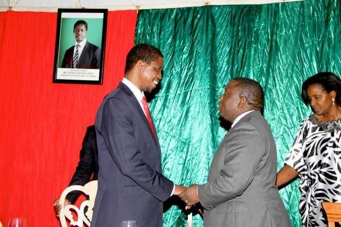 President Edgar Chagwa Lungu with Foreign affairs minister Harry Kalaba at Zambia's Ambassador to Zimbabwe's residence in Harare where he addressed Zambia's living in Zimbabwe on April 29,2015 -Picture by THOMAS NSAMA
