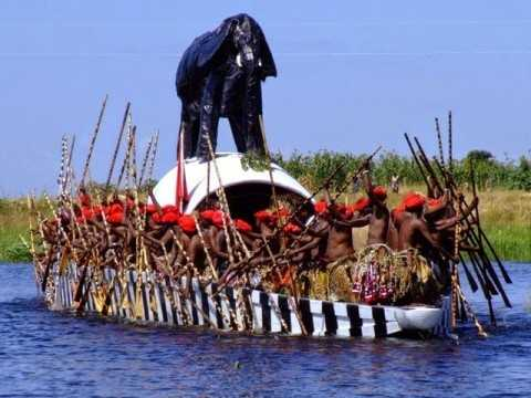 This picture, from the internet, shows the Lozi King's barge and it's 100+ paddlers during the Kuomboka Ceremony.