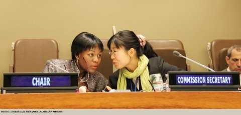 Zambia's Deputy Permanent Representative to the UN Christine Kalamwina (left) talking to the Secretary of the 48th Session of the Commission on Population and Development Sonia Elliot at UN HQ 14 April 2015. PHOTO | CHIBAULA D. SILWAMBA | ZAMBIA UN MISSION