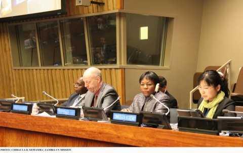 Zambia's Deputy Permanent Representative to the UN Christine Kalamwina (second right) chairing the 48th Session of the Commission on Population and Development at UN HQ on 14 April 2015. PHOTO   CHIBAULA D. SILWAMBA   ZAMBIA UN MISSION