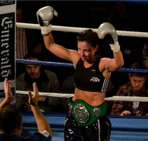 "Christina ""Lightning"" McMahon Wins the Celtic Warrior Womens Bantamweight Title - Photo Credit- Gerard Donnelly"