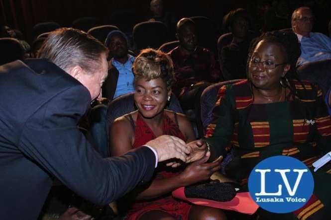 Peter Cottan, Esther Phiri and Minister EmerineKabanshi