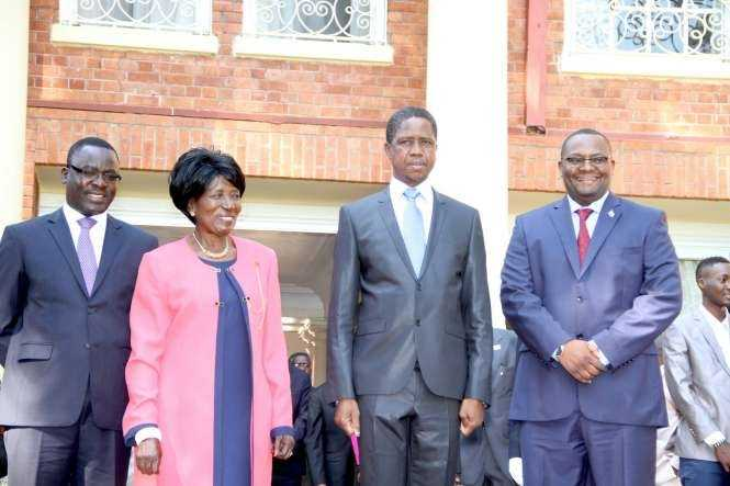 President Edgar Lungu, Vice-President Inonge Wina, Zambia's High Commissioner to South Africa Emmanuel Mwamba (r) and Zambia's Ambassador to France Humphrey Chibanda (l) during the swearing -In-Ceremony at State House on May 4,2015