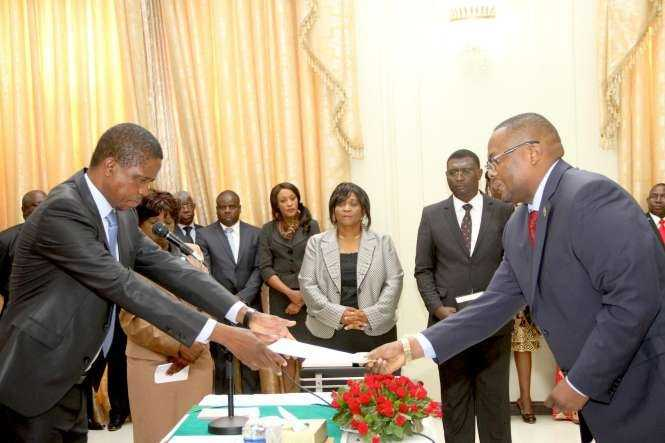 President Edgar Lungu swears in Zambia's High Commissioner to South Africa Emmanuel Mwamba and Zambia's Ambassador to France Humphrey Chibanda -PICTURES BY THOMAS NSAMA