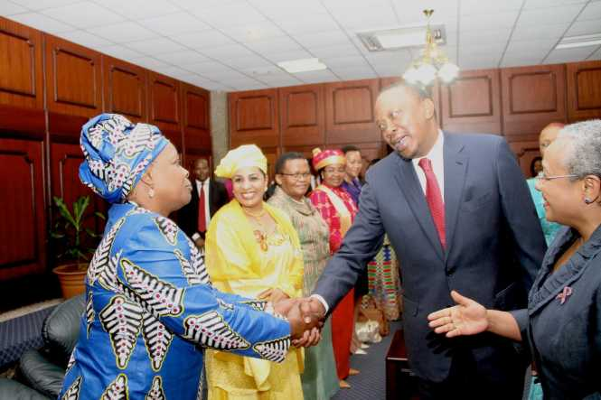 First Lady Esther Lungu being welcomed by Kenya's President Uhuru Kenyatta and Kenya's First Lady Margaret Kenyatta during the opening of the 9th Stop Cervical, Breast and Prostate Cancer in Africa
