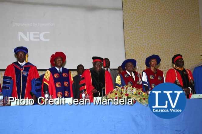 KK and and former Tanzanian President Benjamin Mkapa officiate at the Cavendish University Graduation Ceremony  - Photo Credit Jean Mandela - Lusakavoice.com